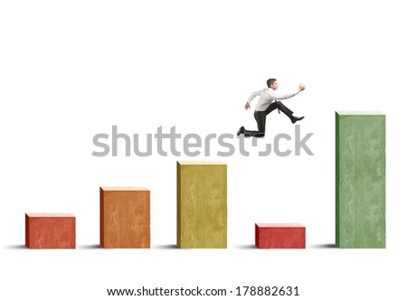 Businessman skips the crisis with a jump on a positive statistic - stock photo