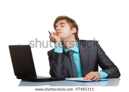 businessman sleep sit at desk with laptop, resting hold hand head sleeping, concept of handsome young business tired day dreaming, isolated over white background - stock photo