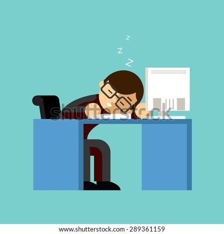 Businessman sleeping on his office desk top. Table and work, sleepy and job, nap and lazy, asleep and worker - stock photo