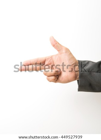 Businessman sleeves doing Bang or Boom gun gesture in white isolated background - stock photo