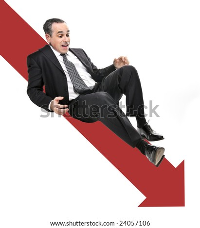 Businessman sliding down red arrow in financial crisis - stock photo