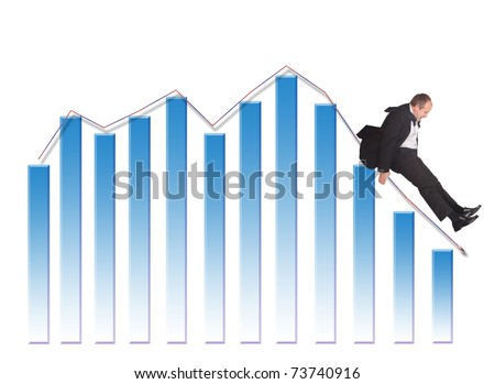 Businessman sliding down upon graph-isolated on white - stock photo