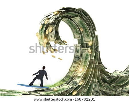 businessman slips surfing on a wave of money - stock photo
