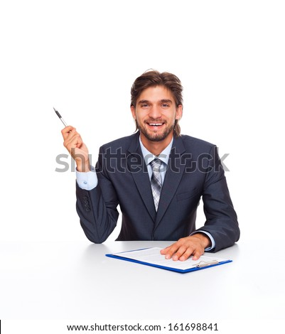 businessman smile point finger pen up to copy space, at office desk sign up contract, Handsome young business man sitting with documents, papers, isolated over white background - stock photo
