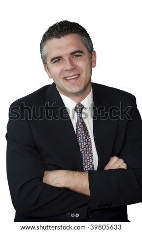 Businessman smiling with his hands crossed (white background) - stock photo