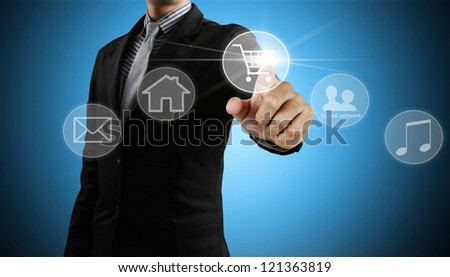 Businessman social network structure - stock photo