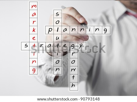businessman solving a strategy plan to be successful in his business - stock photo