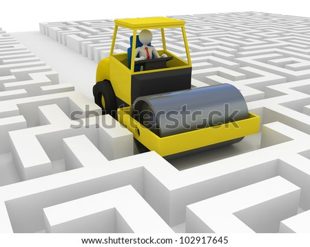 Businessman solving problem - stock photo