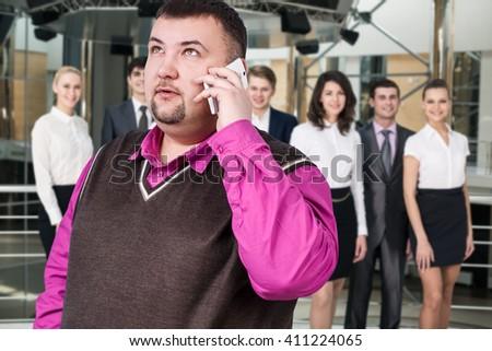 Businessman speak on the phone - stock photo