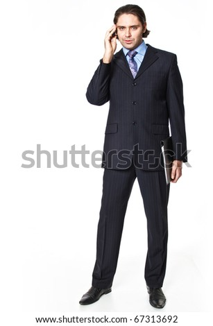 Businessman speaking by mobile on white background