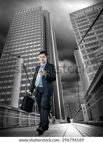 Businessman speaking by phone - stock photo