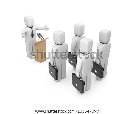 Businessman speaking. Image contain clipping path - stock photo