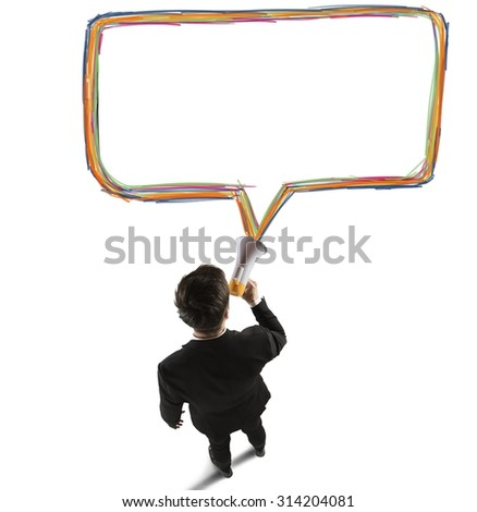 Businessman speaks and shares messages with megaphone - stock photo