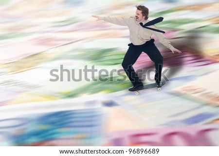 Businessman speculating the advantages of financial crisis - copy space - stock photo