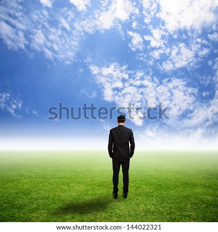 Businessman stand alone on grass field has hazy - stock photo