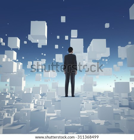 Businessman stand on cube and  looking to the future. Concept for business and technology.