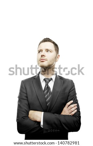 businessman standing and folded his hands on white background