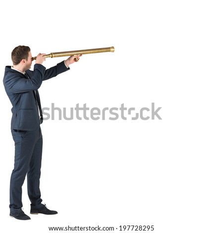 Businessman standing and looking through telescope on white background