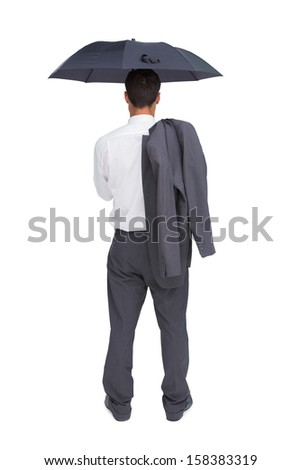 Businessman standing back to camera holding umbrella and jacket on shoulder against white background - stock photo