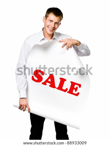 Businessman standing behind blank whits billboard. Isolated over white - stock photo