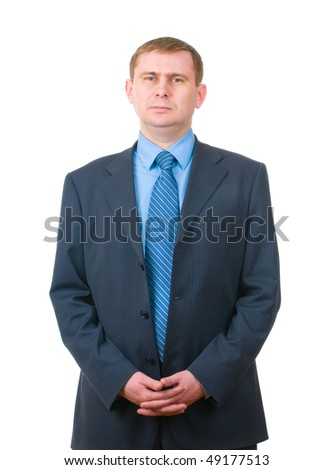 Businessman standing confidently isolated on white background - stock photo