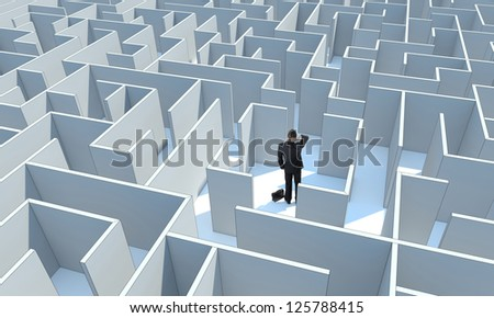 """Businessman standing in center of the maze. Make a difficult decision. Achieving the goal. Without the sign """"Welcome"""" on the wall. Wide angle. Blueprint. Encounter difficulties - stock photo"""