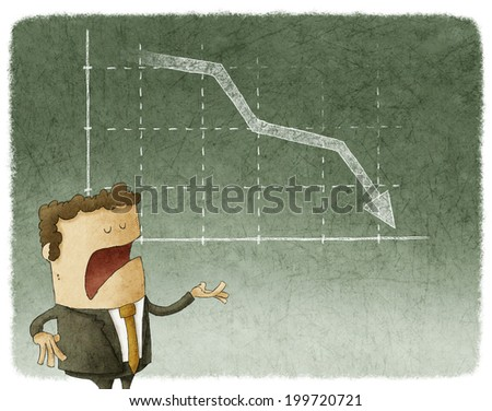 Businessman standing in front of a declining stock chart - stock photo