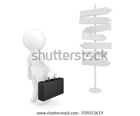 Businessman Standing in front of a Road Signs on a white background - stock photo