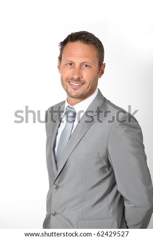 Businessman standing in white background