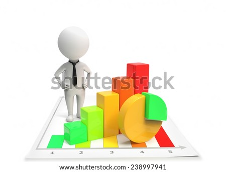 Businessman standing near the diagram - stock photo