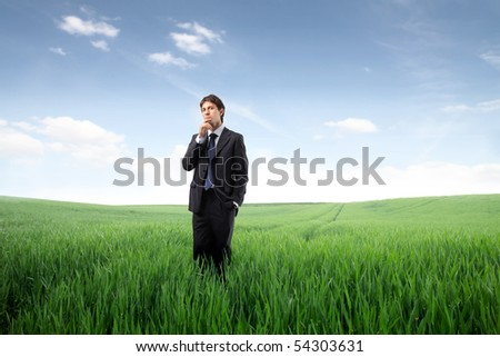 Businessman standing on a green meadow and thinking - stock photo