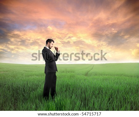 Businessman standing on a green meadow at sunset