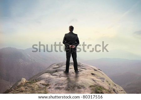 Businessman standing on a peak - stock photo