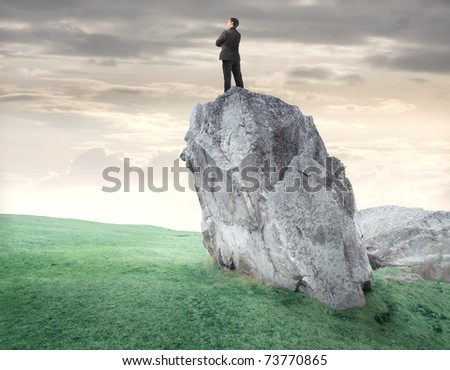 Businessman standing on a rock and observing the panorama - stock photo