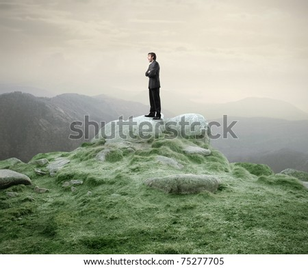 Businessman standing on a rock and shouting - stock photo