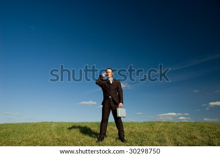 Businessman standing on green grass - talking phone - stock photo
