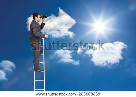 Businessman standing on ladder against cloud arrow - stock photo