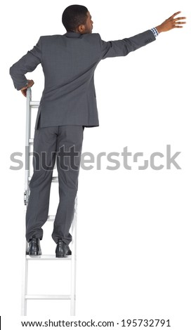 Businessman standing on ladder on white background