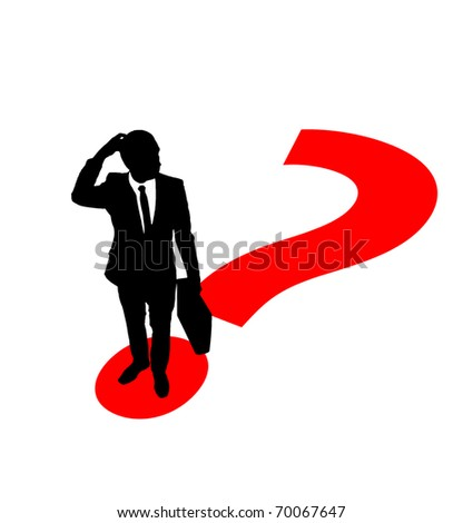 Businessman standing on question mark's point and thinking