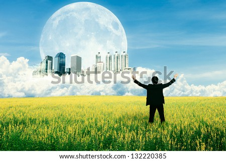 Businessman standing on the field and watching the future city on the cloud - stock photo
