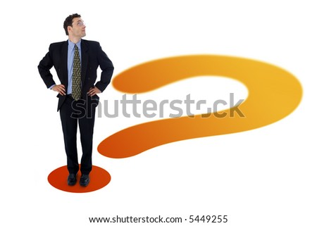 Businessman standing on the point of a question mark, looking up to an imaginary (your custom) product, text or whatever you put there