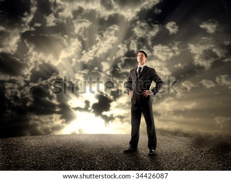 businessman standing on the road - stock photo