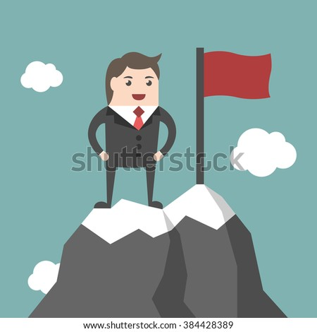 Businessman standing on top of mountain peak with red flag. High ice summit. Business success, leadership, leader, executive, management concept