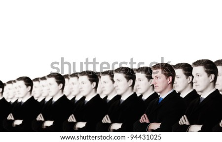 businessman standing out from the crowd when all around you every ones the same