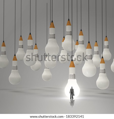 businessman standing out of  3d pencil and light bulb concept creative and leadership as concept - stock photo