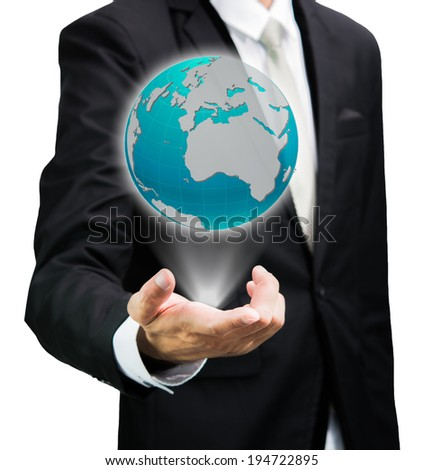 Businessman standing posture hand holding Earth icon isolated on over white background