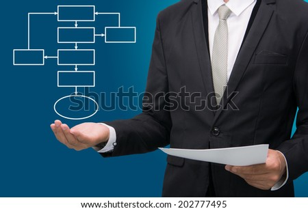 Businessman standing posture hand holding strategy flowchart isolated on over blue background