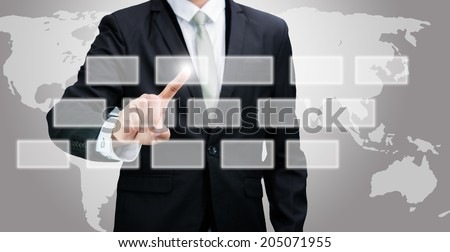 Businessman standing posture hand touching technology concept on gray background
