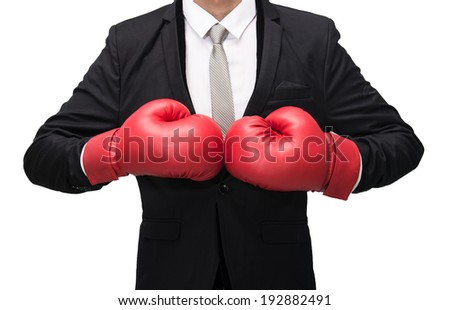Businessman standing posture in boxing gloves isolated on over white background