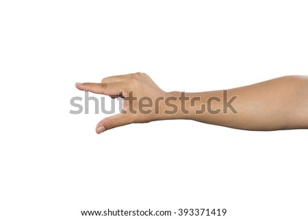 Businessman standing posture show hand isolated on over white background - stock photo